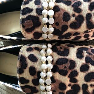 Marc Fisher leopard loafers with pearl accents